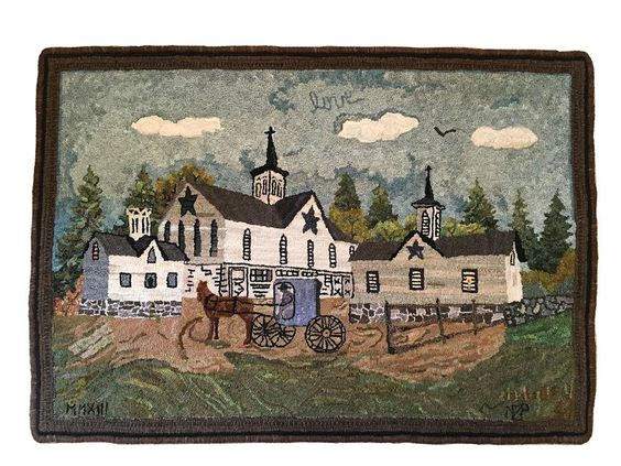 """<em><strong>Pennsylvania Stars</strong>, 40"""" x 28"""", #3 to 6-cut wool on linen. Designed by Leonard Feenan and hooked by Nancy Z. Parcels, Rustburg, Virginia, 2013.<br /> <br /> The sky is full of loops of color, and there are clouds. When the clouds are viewed up close, they do have several directional loops laid to give the cloud itself a bit of direction, creating depth within it. However, the rest of the sky was all hooked in antigodlin (with..."""