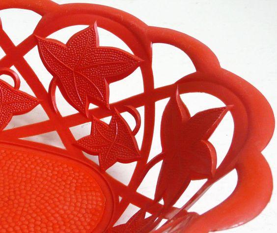 Corbeilles à Pain 'Feuilles' - Plastique Rouge - Cle - Années 60-70