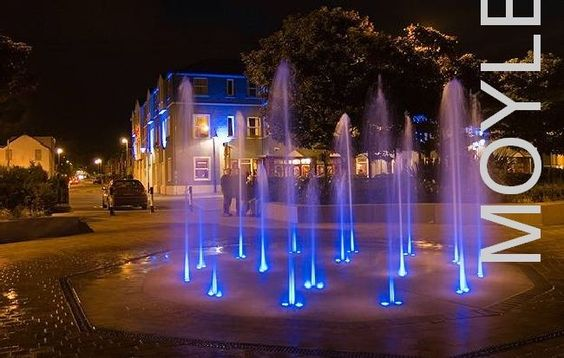 A fountain at night, on the seafront at Ballycastle, Co Antrim, Northern Ireland.