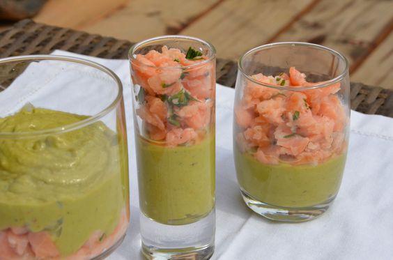 Crème d'avocats, tartare aux 2 saumons. (Atelier cocktail festif)