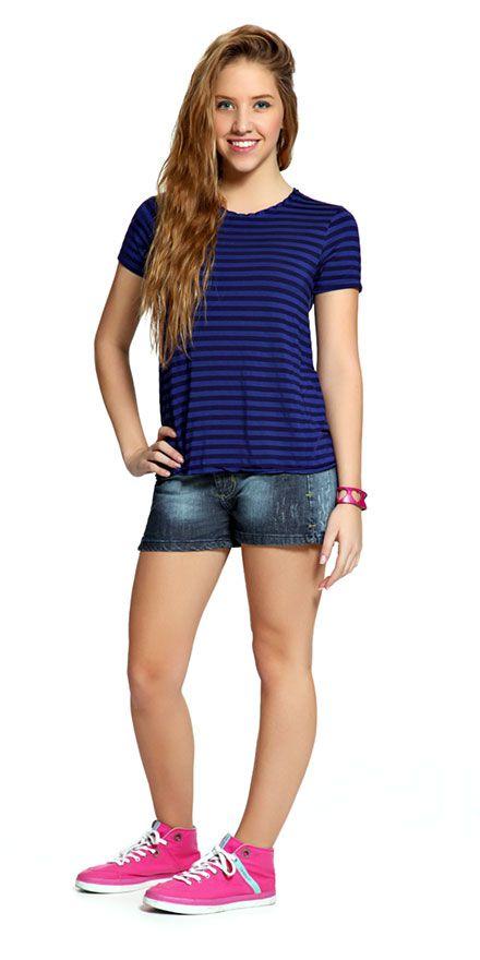 M2A Jeans | Spring Summer 2014 | Teen Girl Lookbook | Pimavera Verão 2014 ♥ shorts jeans; listras; stripes.