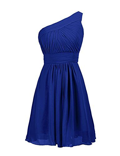 Dressystar one shoulder short royal blue bridesmaid for Royal blue short wedding dresses