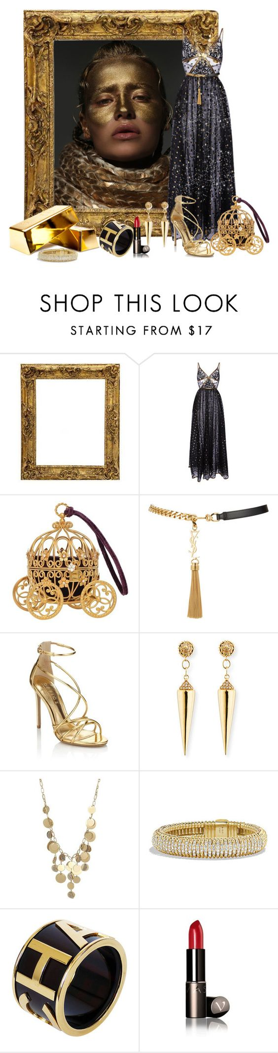 """Black &Gold"" by elona-makavelli ❤ liked on Polyvore featuring Elie Saab, Yves Saint Laurent, Lipsy, Sydney Evan, Kenneth Cole, David Yurman and Chanel"