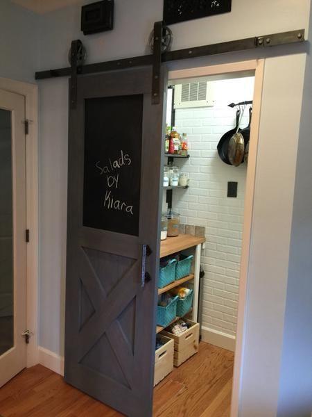 Vintage Farmhouse Chalkboard Interior Sliding Barn Door In 2020 Interior Sliding Barn Doors Home Remodeling Home