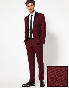 ASOS Skinny Fit Tuxedo in Burgundy | Men's Fashion | Pinterest