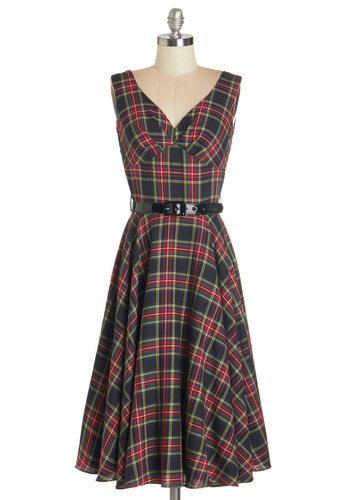 Pretty as a Rose Dress in Midnight Bloom by Bernie Dexter - Multi, Plaid, Belted, Casual, A-line, Tank top (2 thick straps), Better, V Neck, Vintage Inspired, Variation, Scholastic/Collegiate, Woven
