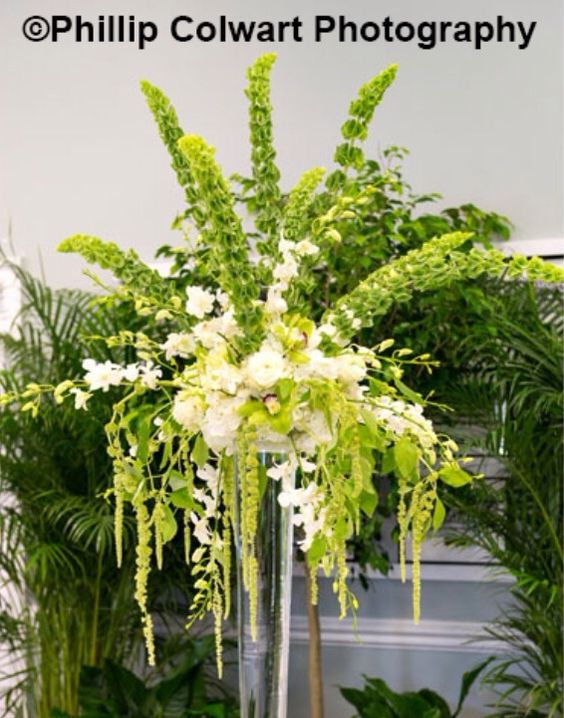 Green and white buffet centerpiece
