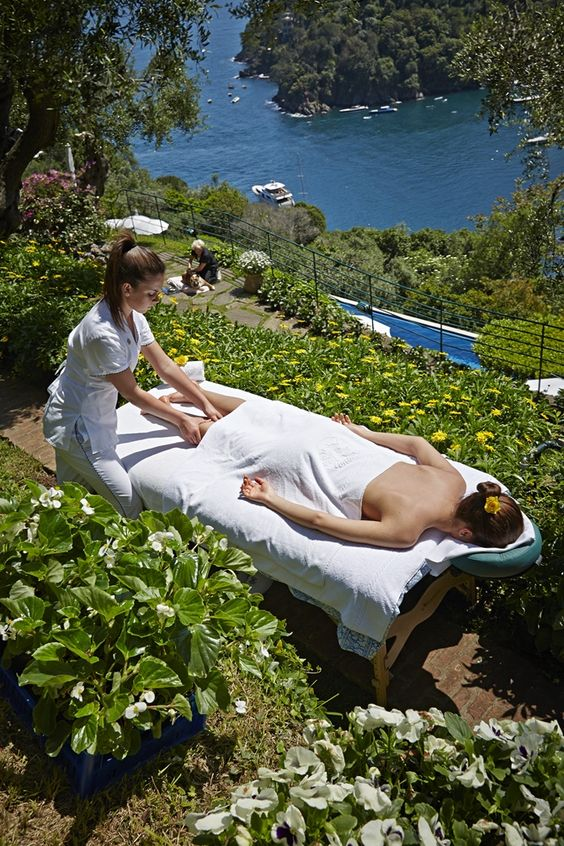 Relaxing in Splendido Spa, Portofino, Italy.