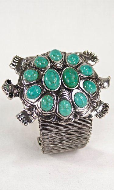 Ladies Silver Turtle Bracelet In Turquoise