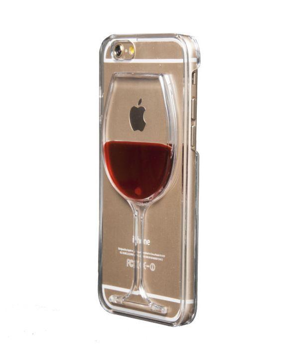 Coque rigide pour iPhone 6 et 6S avec effet liquide (Verre de Vin)