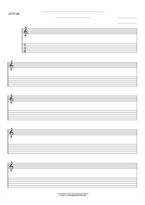 Guitar guitar tablature blank : Free Blank Sheet Music sheet music by Jan Walter. Part: Notes and ...