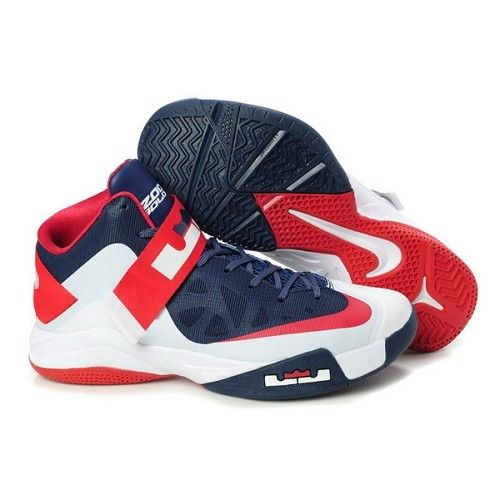 Nike Zoom Lebron James Soldier VI Deep Blue Red White Men Basketball Shoes For $72.50 Go