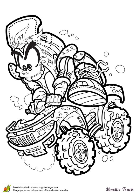 Coloriage de la mascotte monster truck qui s amuse - Coloriage de monster ...