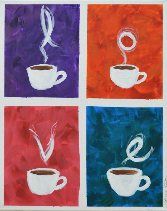 Love canvas painting love canvas and coffee love on pinterest for Coffee painting designs