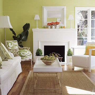 Rid Rooms of Clutter. Green and white are one of the freshest combinations.