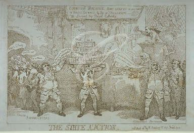 """""""The state auction""""; showing Pitt, as an auctioneer, disposing of British…"""
