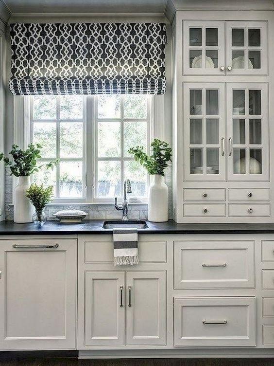 modern farmhouse kitchen curtain ideas