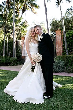 Avril Lavigne and Deryck Whibley.  Clad in a Vera Wang gown, Avril married her Sum 41 frontman beau Deryck (in a Hugo Boss suit) in Santa Barbara, California, July 15, 2006
