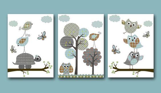 Childrens art Kids Wall Art Baby Room Decor owls por artbynataera, $42.00