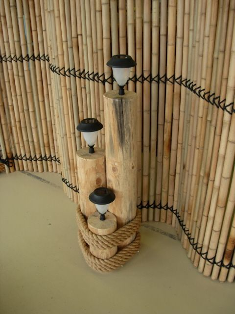 Nautical Solar String Lights : Log Pier Set with Solar Lights for the edge of the deck along the pond DIY projects to try ...