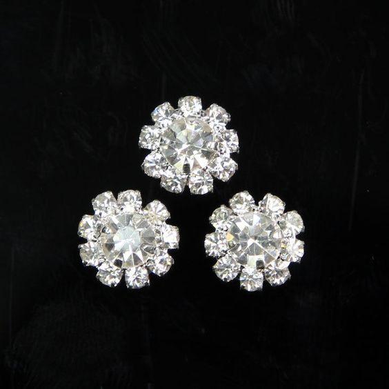 DIY Dress Embellishment 10 Pcs Silver Tone Crystal Rhinestone Round Button Craft