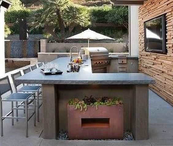 Pin By Janegonzales On Home In 2020 Concrete Outdoor Kitchen Outdoor Kitchen Patio Outdoor Bbq Kitchen
