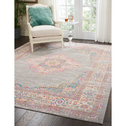 Mercury Row Abbate Power Loom Gray Pink Rug Wayfair In 2020 Rugs On Carpet Vintage Area Rugs Area Rugs