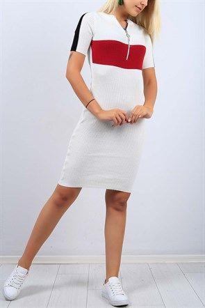 Fermuar Yaka Beyaz Bayan Triko Elbise 9353b Elbise Kadin Giyim Giyim