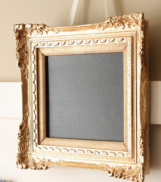 """Pick out a great frame...paint it anyway you like it and use chalkboard paint for the """"picture""""...makes a fancy blackboard for notes!"""