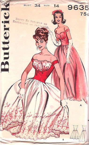 Love the shelf bustle detail on this femininely gorgeous 1960s Butterick pattern (Butterick 9635). #vintage #fashion #sewing #1960s #dress #pattern