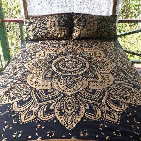 Black And Golden Mandala Bedding Set In King Size Boho Mandala Duvet Cover Duvetcover Beddingset King Mandala Bedding Mandala Duvet Cover Duvet Bedding Sets