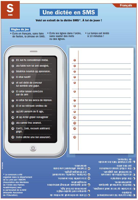 Fiche exposés : Une dictée en SMS