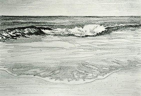 Sketsa Pemandangan Pantai Plus Ombak