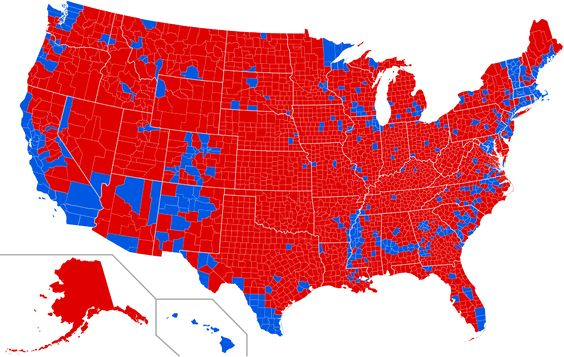 2016 Presidential Election by County - United States presidential election, 2016 - Wikipedia