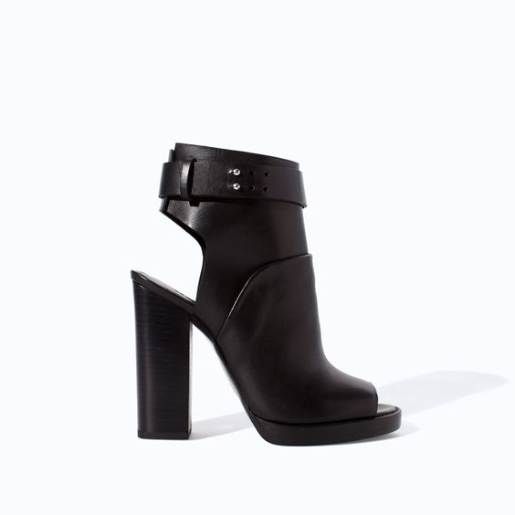 ZARA - WOMAN - LEATHER HIGH HEEL PEEP TOE ANKLE BOOT