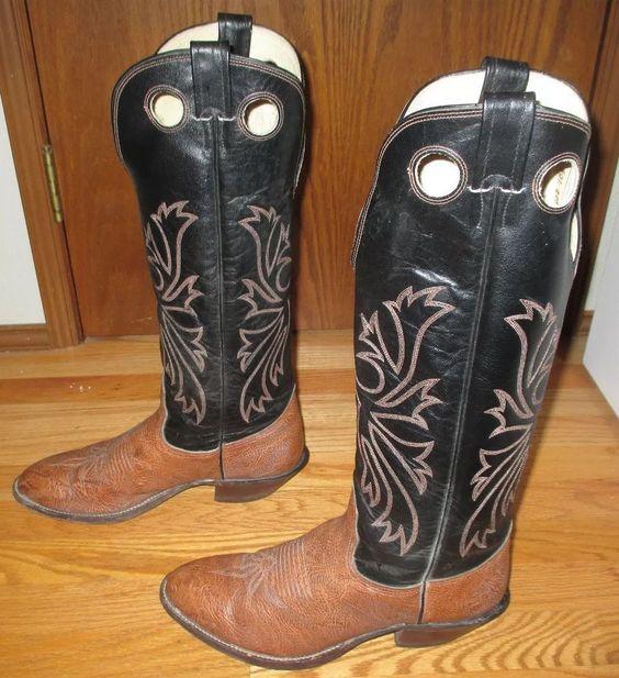 VINTAGE TALL NOCONA U.S.A. TWO-TONE LEATHER WESTERN BUCKAROO COWBOY BOOTS 10.5 D #Nocona #CowboyWestern