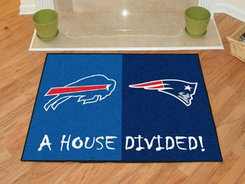 "NFL House Divided - Patriots / Bills House Divided Mat 33.75"""" X 42.5"""""