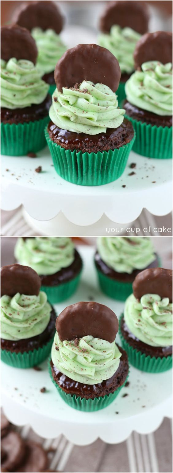 Thin Mint Cupcakes! These are incredibly delicious and SO easy, perfect for St. Patrick's Day!