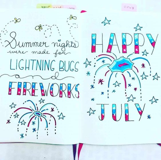 25 amazing 4th of July Bullet journal spreads for independence day! #independenceday #bulletjournal #bujo #bulletjournalcover #bulletjournalspreads #redwhiteandblue #bujothemes