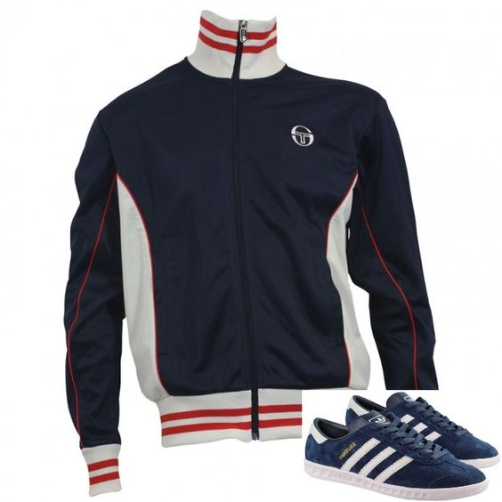 Retro Sergio Tacchini 'Leo' track top looks sweet with Collegiate Navy/White Hamburgs