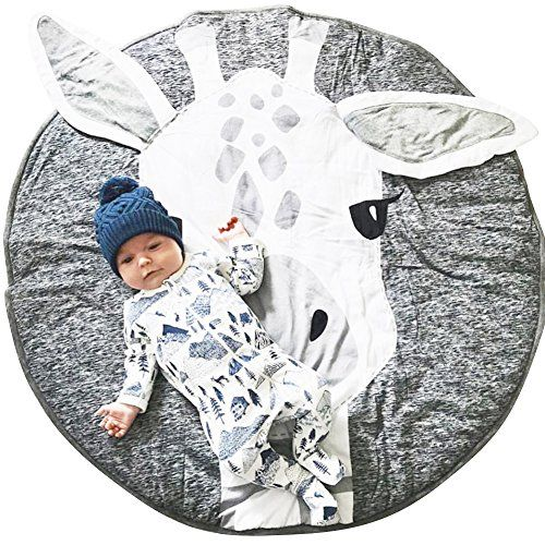 Lzttyee Cotton Round Giraffe Nursery Rug Baby Floor Playmats