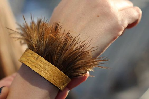 Womens genuine brown and yellow leather by VolkovaAccessories