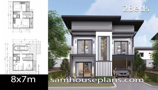 House Plans Idea 8x7 With 3 Bedrooms Sam House Plans Loft House Design House Plans 2 Storey House Design