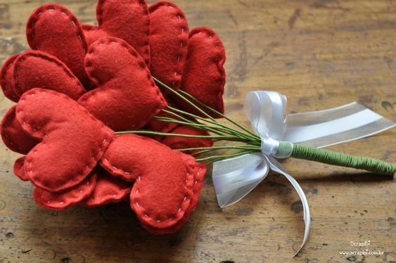 ScrapBi - Scrapbooking, DIY, Ideias e mais: Buquê de corações de feltro - Vermelho