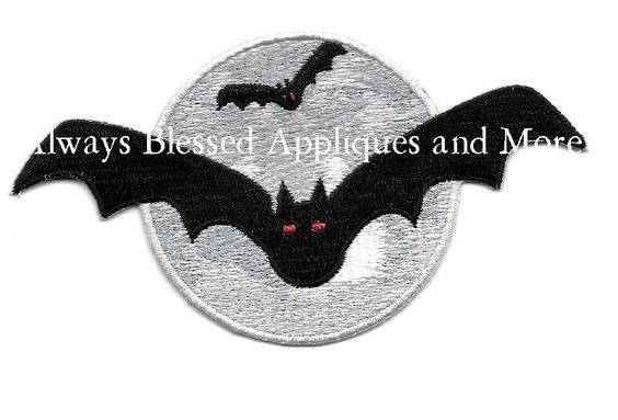 Bat- Bats - Halloween - Full Moon - Embroidered Iron On Applique Patch