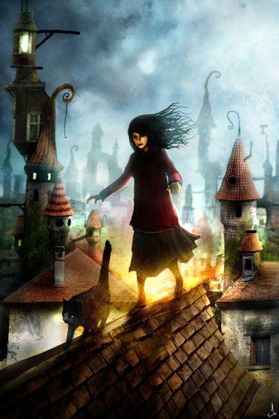La fillette sur un toit