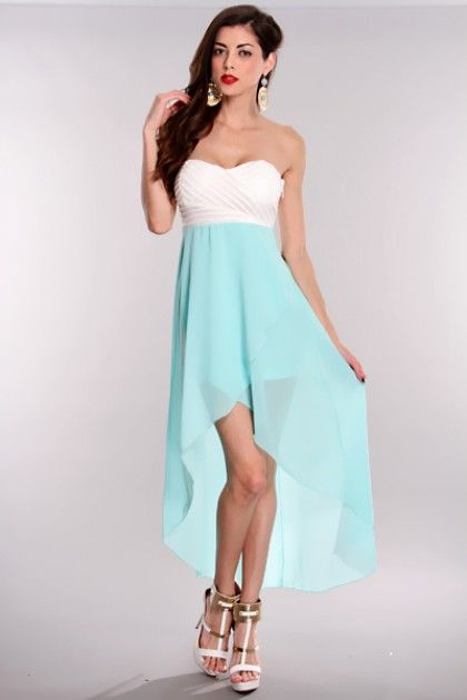 dresses teens high low  Home / Aqua White High Low Hem Strapless ...