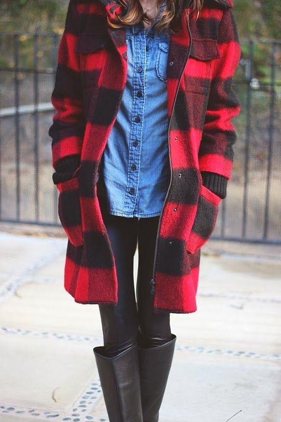 xadrez + jeans + preto.