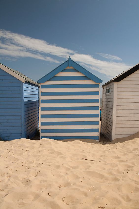 Blue Beach huts in Southwold, Suffolk, England