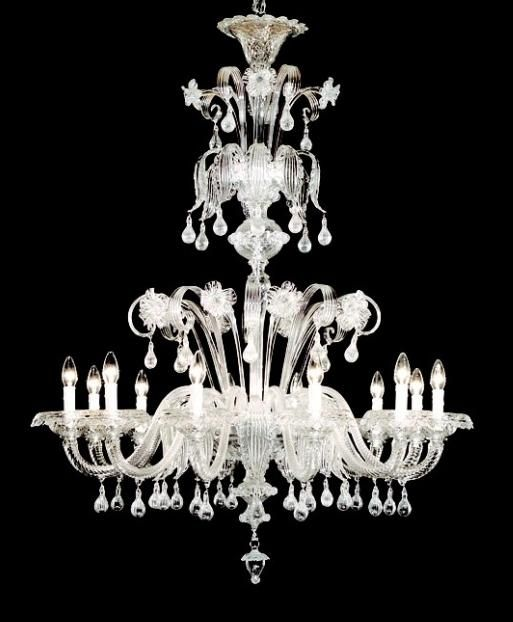 12 Arm Clear Glass Murano Chandelier K0096 Murano Chandelier Chandelier Murano Glass